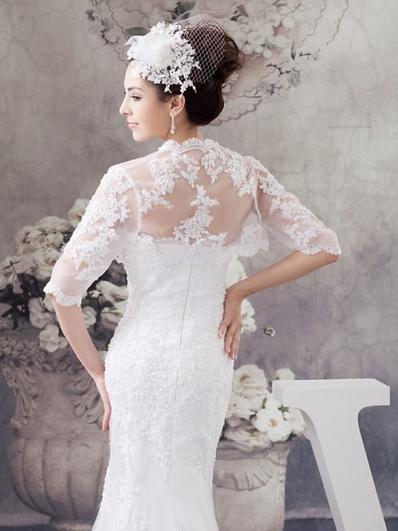 Mermaid \ Trumpet Strapless Court Train Lace Satin Half Sleeve Wedding Dresses_5