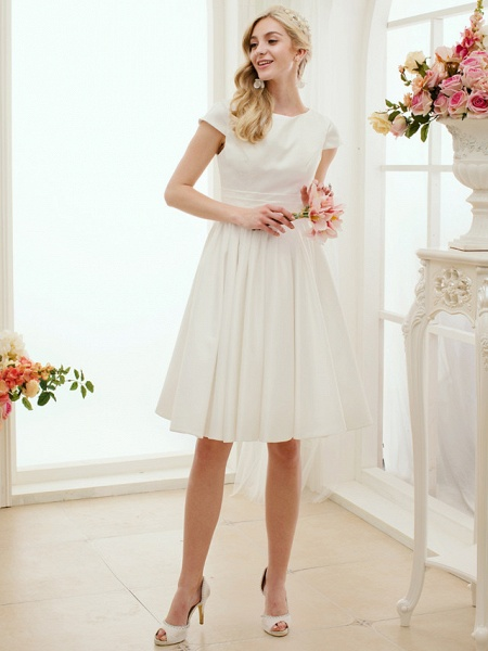 A-Line Wedding Dresses Jewel Neck Knee Length Satin Short Sleeve Formal Simple Casual Little White Dress_2