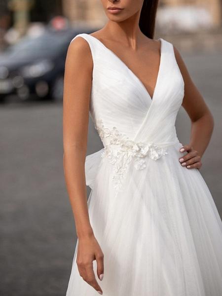 A-Line Wedding Dresses V Neck Floor Length Tulle Regular Straps Plus Size_2
