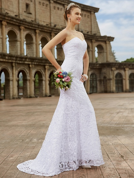 Mermaid \ Trumpet Wedding Dresses Sweetheart Neckline Sweep \ Brush Train Lace Strapless Country Plus Size_3