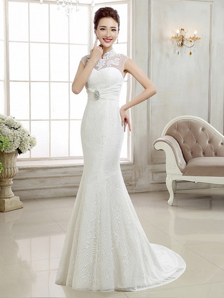 Mermaid \ Trumpet Wedding Dresses High Neck Sweep \ Brush Train Lace Cap Sleeve Sexy Illusion Detail Backless_5