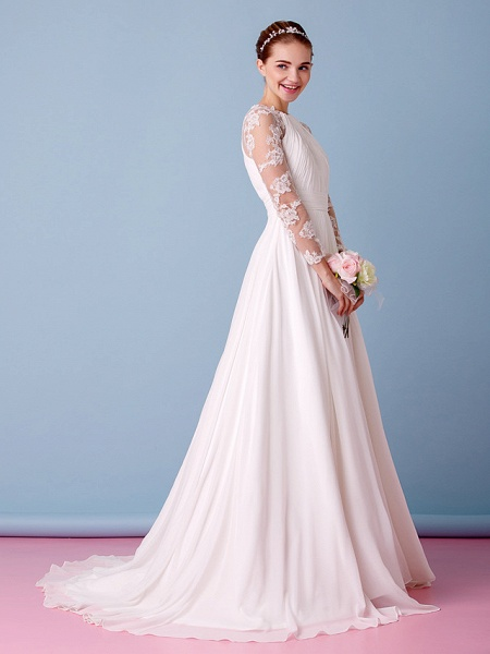 A-Line Jewel Neck Sweep \ Brush Train Chiffon Sheer Lace Long Sleeve Simple Boho Little White Dress See-Through Illusion Sleeve Wedding Dresses_7