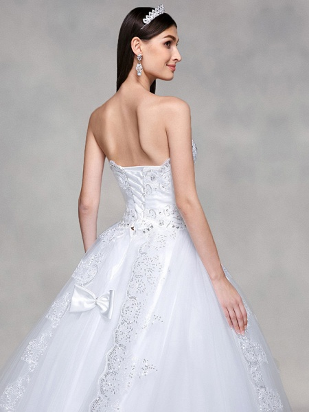 Ball Gown Wedding Dresses Sweetheart Neckline Sweep \ Brush Train Tulle Over Lace Strapless Country Glamorous Sparkle & Shine Backless_5