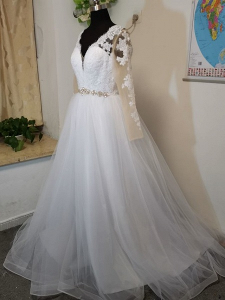 A-Line Wedding Dresses V Neck Court Train Tulle Long Sleeve Formal Casual Beach Illusion Sleeve_5