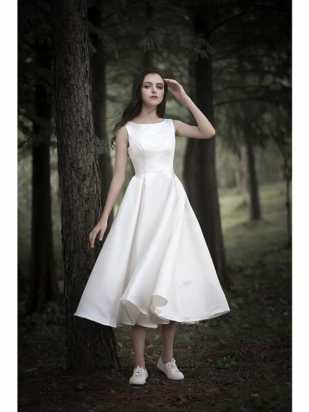 A-Line Wedding Dresses Jewel Neck Tea Length Chiffon Over Satin Cap Sleeve Simple Casual Little White Dress_1