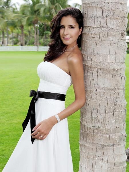 A-Line Wedding Dresses Strapless Tea Length Chiffon Strapless Formal Casual Little White Dress_8