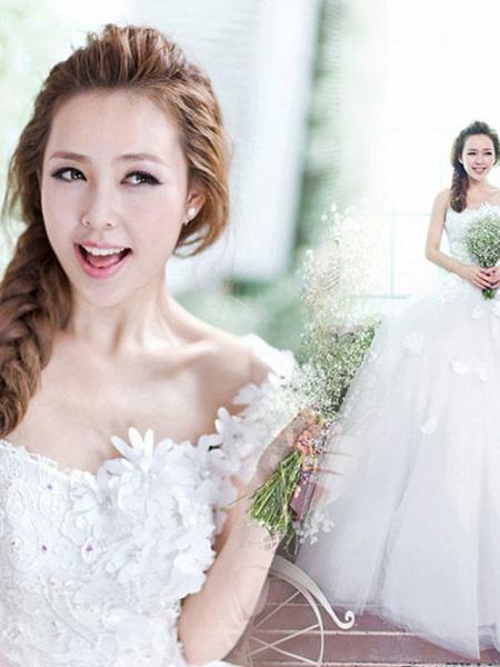 A-Line Wedding Dresses One Shoulder Floor Length Tulle Regular Straps Plus Size_4