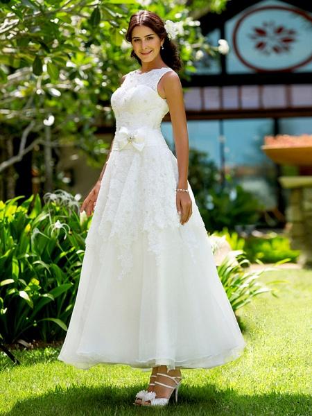 A-Line Wedding Dresses Bateau Neck Ankle Length Lace Regular Straps Little White Dress_3