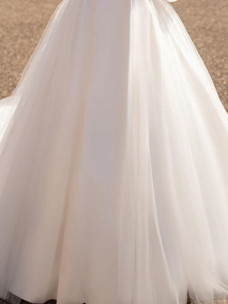 A-Line Wedding Dresses Plunging Neck Court Train Tulle Chiffon Over Satin Long Sleeve Formal Plus Size Illusion Sleeve_4