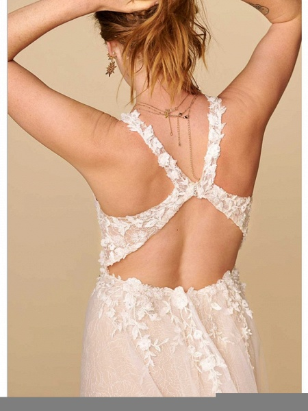 A-Line Plunging Neck Court Train Lace Sleeveless Country Plus Size Wedding Dresses_4
