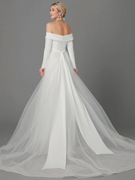 A-Line Wedding Dresses Off Shoulder Chapel Train Chiffon Tulle Long Sleeve Sexy_2
