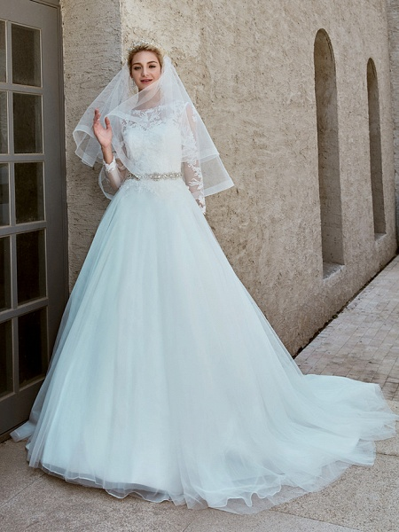 Ball Gown Wedding Dresses Bateau Neck Chapel Train Lace Tulle Long Sleeve Beautiful Back Illusion Sleeve_11