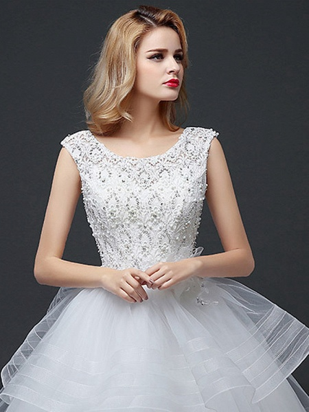 Ball Gown Wedding Dresses Scoop Neck Floor Length Lace Tulle Polyester Cap Sleeve Romantic_5