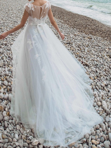Two Piece A-Line Wedding Dresses Jewel Neck Sweep \ Brush Train Tulle Chiffon Over Satin Short Sleeve Country Plus Size_2