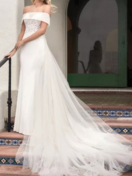 A-Line Wedding Dresses Off Shoulder Court Train Lace Satin Tulle Short Sleeve Formal_1