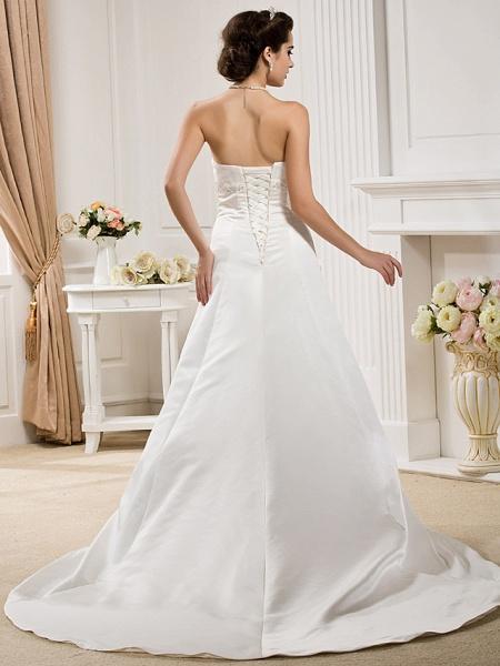 Princess A-Line Wedding Dresses Strapless Court Train Organza Satin Sleeveless_8