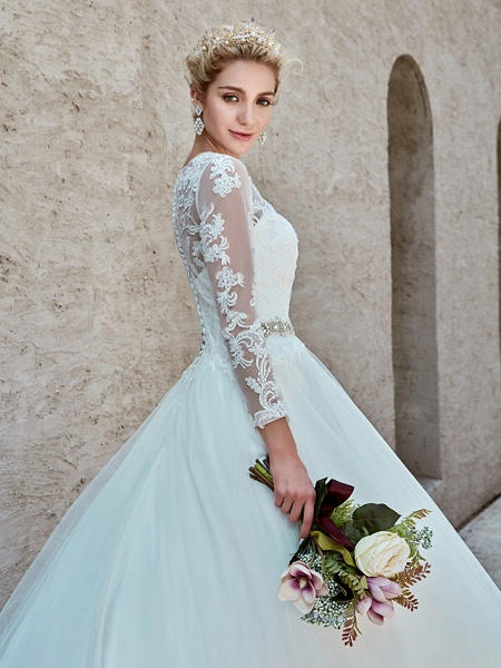 Ball Gown Wedding Dresses Bateau Neck Chapel Train Lace Tulle Long Sleeve Beautiful Back Illusion Sleeve_17