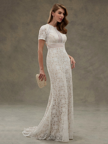 Sheath \ Column Wedding Dresses Jewel Neck Floor Length Sheer Lace Short Sleeve Open Back See-Through_3