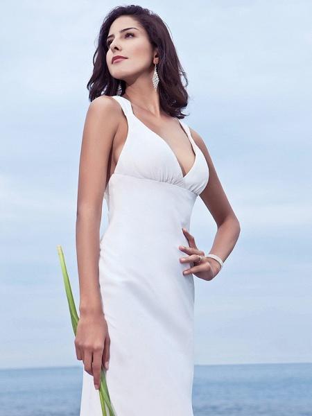 Mermaid \ Trumpet Wedding Dresses V Neck Sweep \ Brush Train Chiffon Regular Straps Beach Backless_5