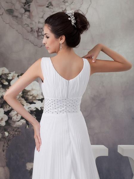 A-Line Wedding Dresses V Neck Chapel Train Chiffon Satin Regular Straps_6
