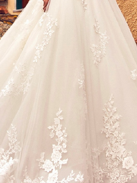 A-Line Jewel Neck Sweep \ Brush Train Lace Tulle 3\4 Length Sleeve Formal Sexy Illusion Sleeve Wedding Dresses_3