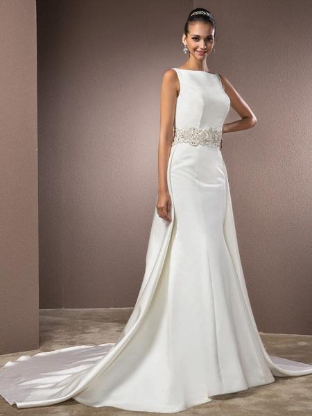 Mermaid \ Trumpet Wedding Dresses Bateau Neck Cathedral Train Satin Regular Straps Vintage Inspired_2