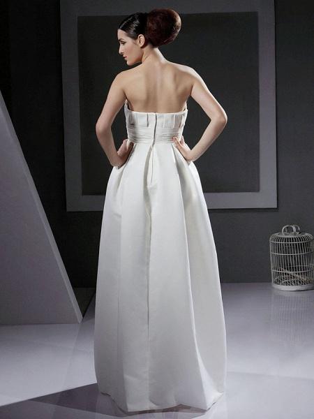 Princess A-Line Wedding Dresses Strapless Floor Length Satin Sleeveless_3