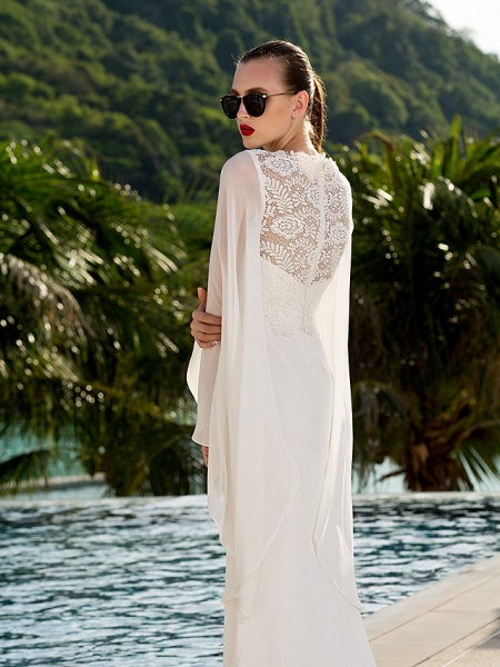Sheath \ Column Wedding Dresses Jewel Neck Sweep \ Brush Train Lace Georgette Long Sleeve Beach Illusion Detail Backless_5