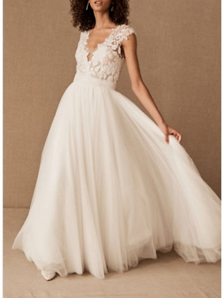 A-Line Wedding Dresses V Neck Court Train Lace Tulle Cap Sleeve_1
