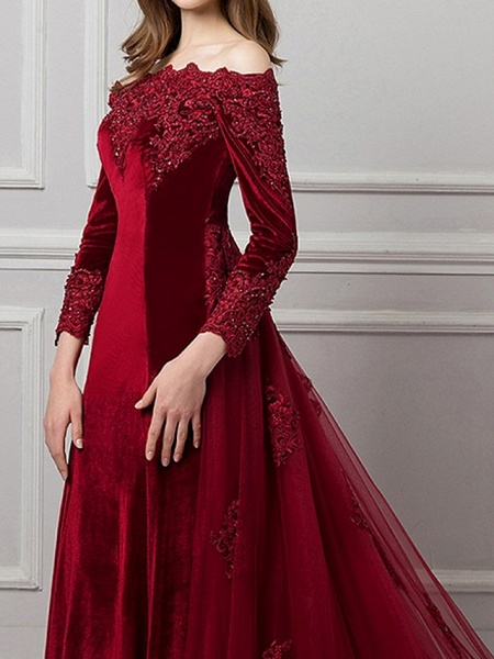 Mermaid \ Trumpet Beautiful Back Red Engagement Formal Evening Dress Off Shoulder Long Sleeve Chapel Train Polyester_3