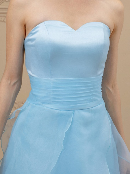 A-Line Wedding Dresses Sweetheart Neckline Floor Length Organza Satin Strapless Simple Plus Size Backless_6