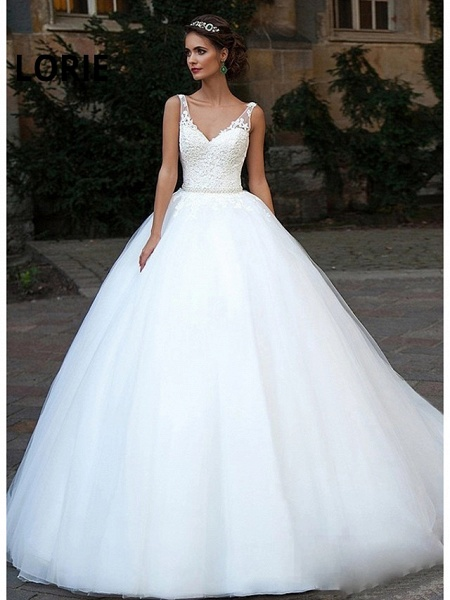 Ball Gown Wedding Dresses V Neck Court Train Lace Tulle Spaghetti Strap Country Illusion Detail Backless_1
