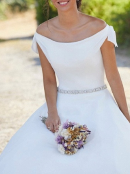 A-Line Wedding Dresses Off Shoulder Sweep \ Brush Train Polyester Cap Sleeve Country Plus Size_3