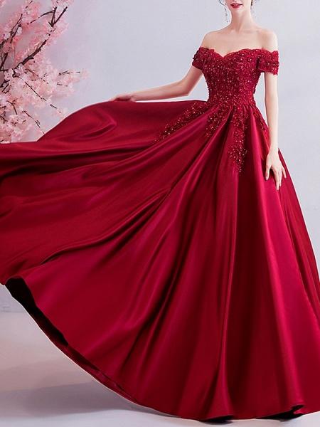 A-Line Wedding Dresses Off Shoulder Sweep \ Brush Train Satin Short Sleeve Romantic Plus Size Red_2
