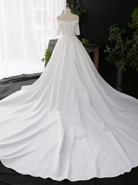 A-Line Wedding Dresses Off Shoulder Court Train Satin Half Sleeve Simple Elegant_2