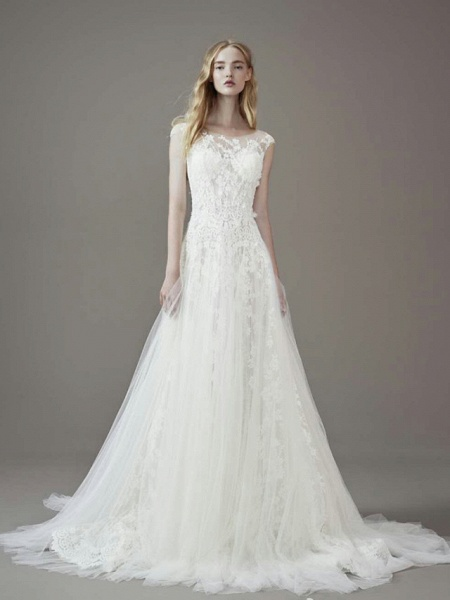 A-Line Jewel Neck Court Train Lace Tulle Short Sleeve Wedding Dresses_1