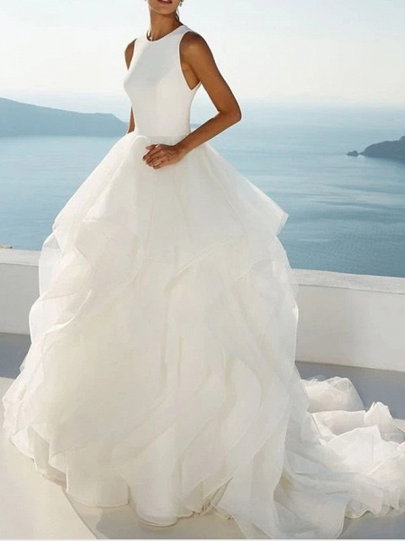 Ball Gown Jewel Neck Sweep \ Brush Train Polyester Sleeveless Beach Illusion Detail Plus Size Wedding Dresses_2