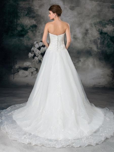 A-Line Sweetheart Neckline Court Train Organza Satin Strapless Plus Size Wedding Dresses_4