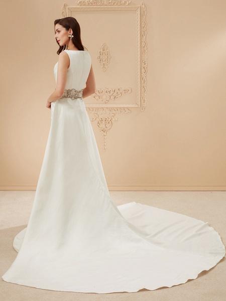 Mermaid \ Trumpet Wedding Dresses Bateau Neck Cathedral Train Satin Regular Straps Vintage Inspired_12