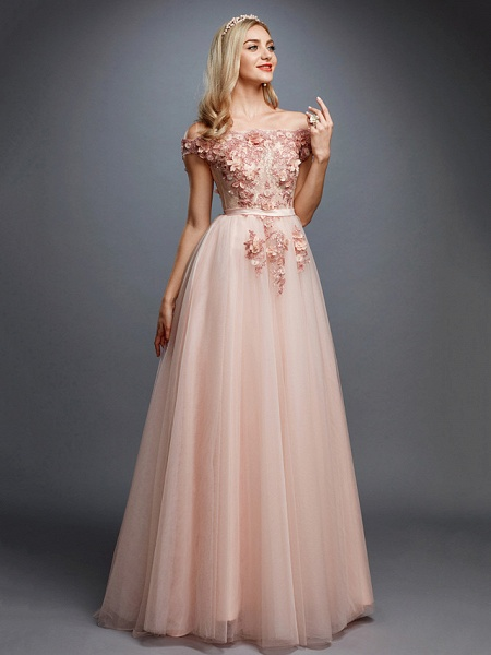 A-Line Floral Pink Prom Formal Evening Dress Off Shoulder Sleeveless Sweep \ Brush Train Tulle Over Lace_1