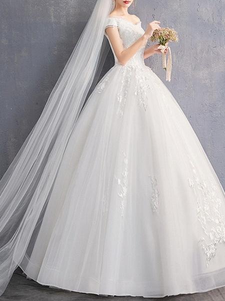 A-Line Wedding Dresses Off Shoulder Floor Length Tulle Cap Sleeve_2