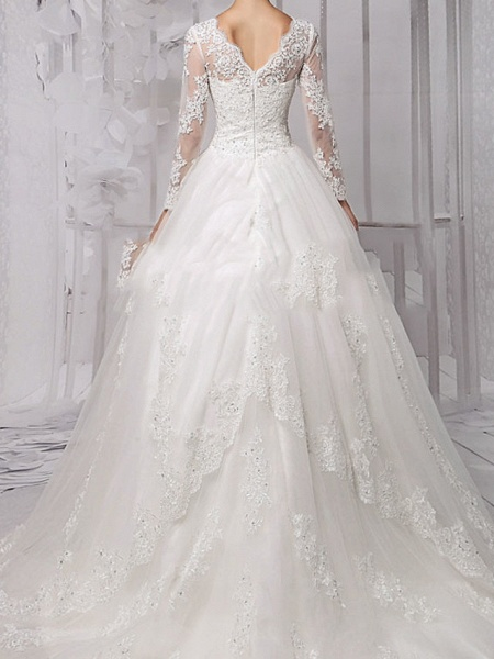 Ball Gown Wedding Dresses Jewel Neck Sweep \ Brush Train Lace Tulle Long Sleeve Formal_3