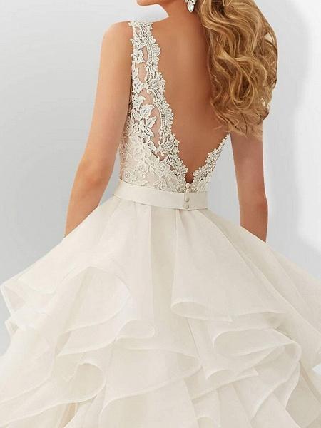 A-Line Wedding Dresses V Neck Sweep \ Brush Train Polyester Regular Straps Glamorous Backless_3
