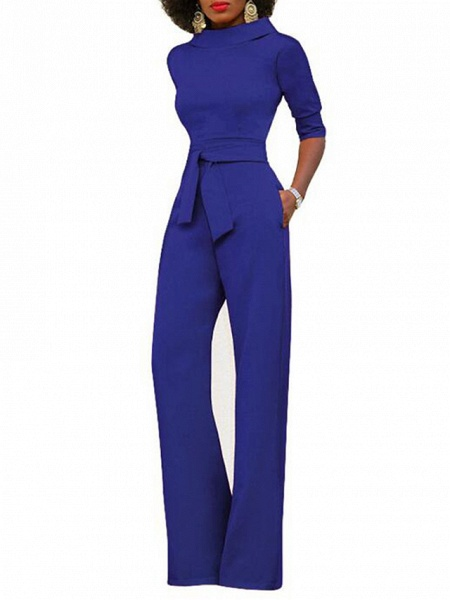 Women's Wide Leg Daily \ Weekend Turtleneck Wine White Black Wide Leg Slim Jumpsuit_4