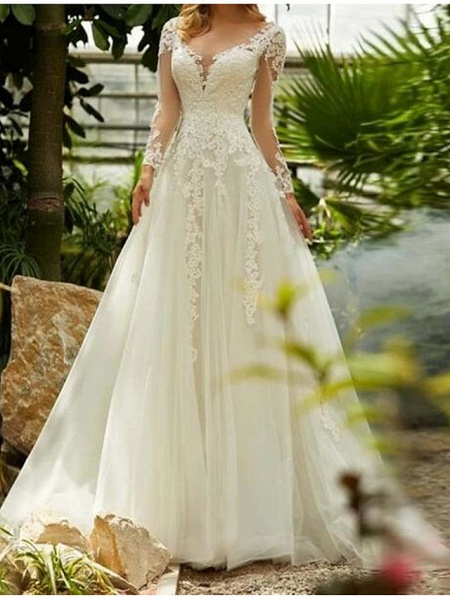 A-Line Wedding Dresses V Neck Sweep \ Brush Train Lace Tulle Long Sleeve Formal_1