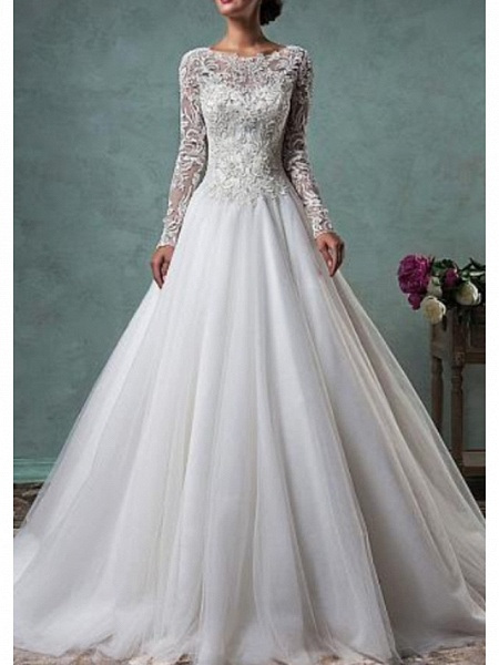 A-Line Wedding Dresses Jewel Neck Sweep \ Brush Train Lace Tulle Long Sleeve Glamorous Backless Illusion Sleeve_1