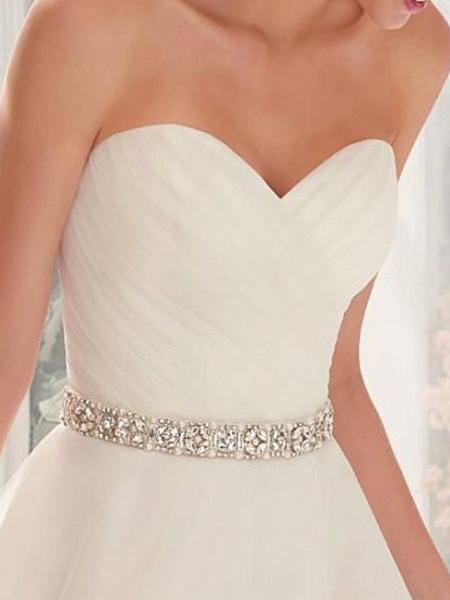 A-Line Wedding Dresses Strapless Sweep \ Brush Train Asymmetrical Organza Sleeveless Simple Vintage 1950s_2