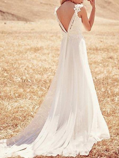 A-Line Wedding Dresses Strapless V Neck Sweep \ Brush Train Chiffon Lace Spaghetti Strap Country Boho Plus Size Backless_2