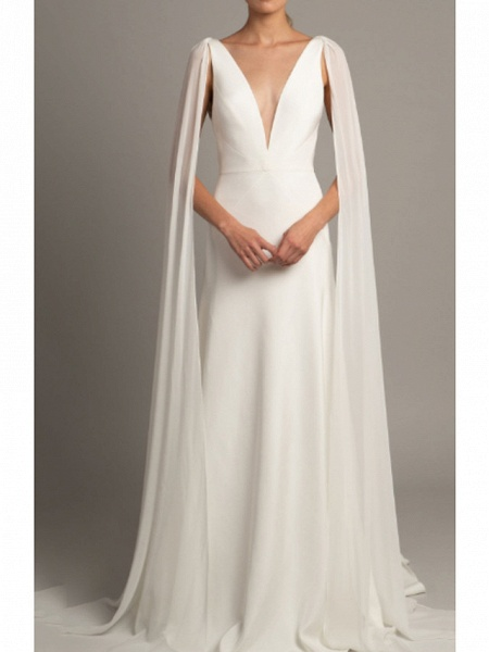 A-Line Wedding Dresses V Neck Court Train Tulle Stretch Satin Regular Straps Cape_1