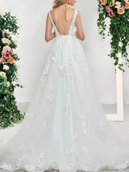 A-Line V Neck Sweep \ Brush Train Lace Tulle Sleeveless Sexy Backless Wedding Dresses_2